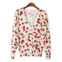 new sweet cherry print cardigan sweater wild long-sleeved sweater coat