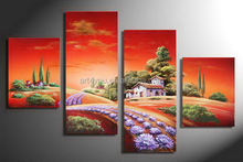 Handmade Simple Natural Village Scenery Oil Painting HT9774