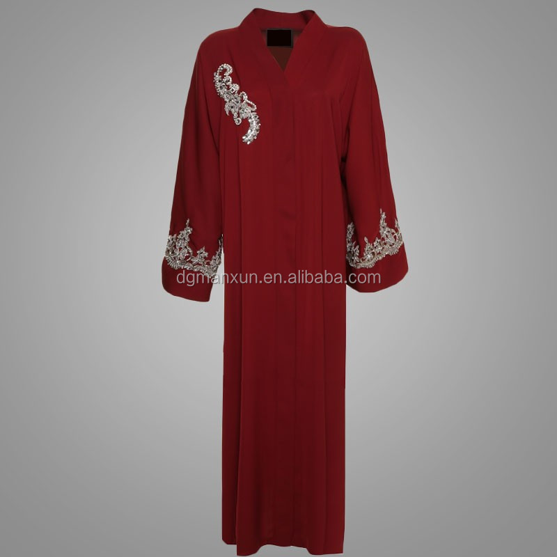 2017 custom embroidered open front abaya latest fashion red dubai kimono dress
