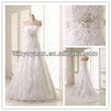Sin tirantes ltg-010 un- línea de encaje vestido de novia 2014 mejor caliente venta de novia vestidos de novia