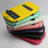 High quality flip leather back case cover for samsung galaxy s3