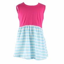Simple summer children cotton baby girls frock strip pattern sleeveless dress