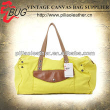 2015 lastest handled women canvas travel bag with coated surface treatment