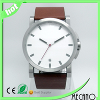 New 316L stainless steel watch man watch with natural tan leather watch strap water resistant
