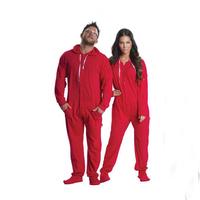 New style hoodie footless pajamas couple onesie adult red devil onesie