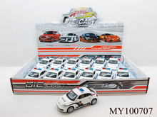 Alloy Car Diecast Model police Car Toy for Collection VW Beetle Pull Back Alloy police Car Toy(12pcs/box)