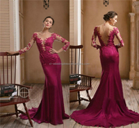 Sexy Fashion Lace Appliques O-Neck Trumpet Mermaid Chiffon Evening dresses Modern Formal Party mature sexy dresses gown FXL-936