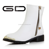 Ankle boot women metal decration zipper high heel boot women