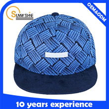 new product blue fashion copy braid fabric with woven label logo snapback caps