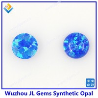 (100pcs) Free Shipping blue OP05 cabochon flat back round 4mm synthetic opal for Opal jewelry