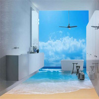 moistureproof 3d bathroom floor tiles pictures