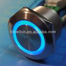 25mm DC12V Green LED Self lock Stainless Push Button Switch 6pin -NEW
