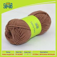 2015 OEKO TEX factory good sell 60/40 cotton/acrylic mix yarn for hand knitting