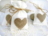 Mini linen burlap style drawstring pouch wedding party favor bags