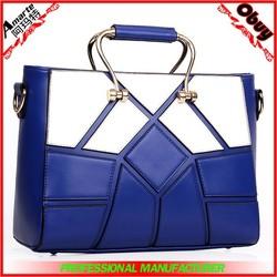 New model design white and blue stitching ladies handbags