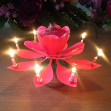 lotus candle auto open up birthday candles +0086-15032098633