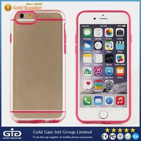 2 In 1 With Dust Plug Ultra Slim Trasparent Case for iPhone 6 TPU + PC Crystal Hard Case