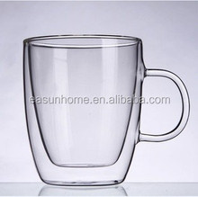 heat resistant hand made double wall glass mug/tea cup/water cup, manufacture