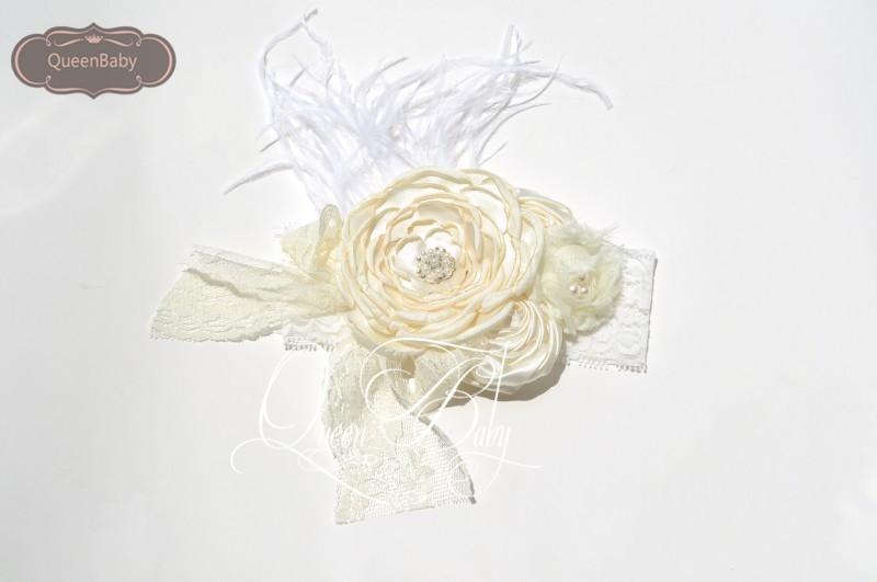 Retail  WIDE Кружево Headband with LayeКрасный Poppy Flowers Matching feather Baby Headbands Boho Стиль