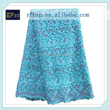Embrodiery design blue and silver coloured cupion lace/ metallic wedding corded lace for nigerian party