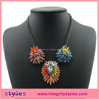 Alibaba In Asia Fashion Shourouk Style Multicolor Crystal Flower Statement Necklace