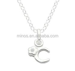 Wholesale Necklace For Children, Initial C Children's Pendant, Flower With Cz Center