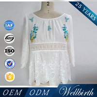 Ladies Lace Embroidered Three Quarter Sleeves Round Neck Design Of Blouse With Beadings