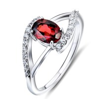 Fashion Sterling Silver Natural Garnet Engagement Rings For Woman