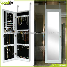 Wooden wall mounted dressing mirror with jewelry cabinet