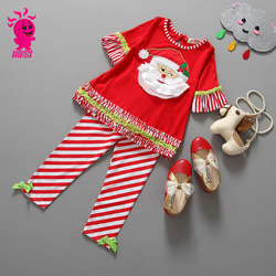 2015 new girl Christmas outfit toddler baby Santa ruffle lace long sleeve t-shirt + stripe pants 2pcs Christmas kids Outfits