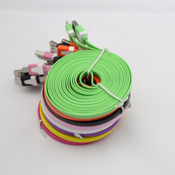 Colorful flat noodle usb cable for iphone 5 and ipad mini -- 1 M