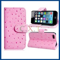 Faux Leather Stand Protective Case for iPhone 5S (Pink)