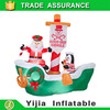 7.9Ft Inflatable Good Ship Kringle Santa Penguin on Boat Lighted for Christmas event decoration