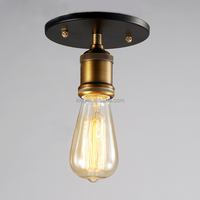 Vintage industrial black/white umbrella shaped ceiling lamp with Edison bulb