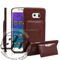 Ultra High Quality flip premium leather kickstand card pocket on back cover for Samsung Galaxy S6 Edge Plus leather case