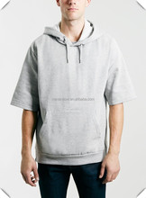 Custom stylish mens Short sleeve french terry fleece hoodie with hoody,design with your own logo pullover hoodie