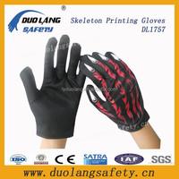 Skull Head Print neon solid polyester magic gloves