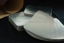 PET laminated cardboard lids for aluminium foil containers