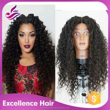 EXC Hair 130% Density Yaki Swiss Lace Wigs Virgin Color 100% Full Hand-tied Brazilian Virgin Human Natural Hair Wig