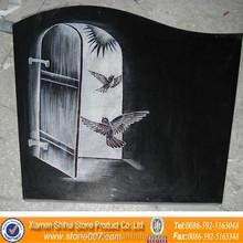 Quality Assurance Flying Birds Black Granite Tombstone