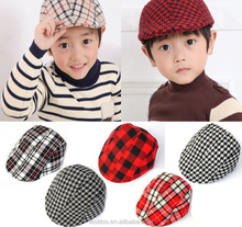 Children beret Children beanie hat Classic grid hat wholesale