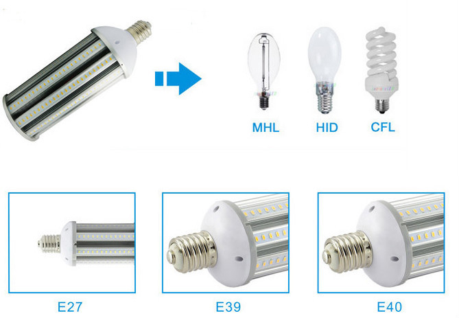 Energy saving high lumen led corn lamp SMD5630 dimmable 360 degree led corn light e27 e40 with 3 years warranty
