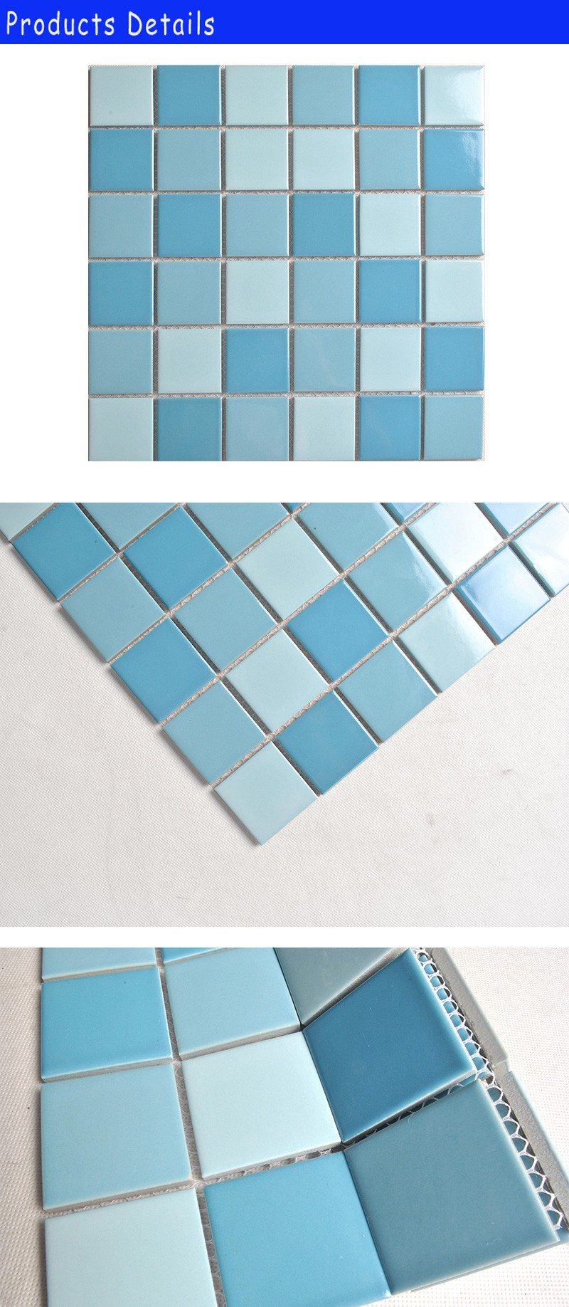bright solid color ceramic tile of blue mixed swimming pool mosaic ...