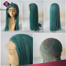 Professional Heat Resistant Synthetic Hair Long Silky Straight green wig