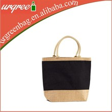 Bicolour Jute Fabric Bag With Zippers