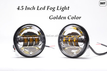 wholesale motorcycle accessories led for lamp, golden color 4.5 inch 30w led fog light for Harley