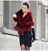 Lady's Fashion Rabbit Fur With Fox Fur Collar/Hot Sale