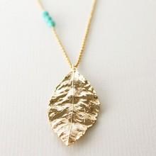 Simple design wholesale gold pendant necklace plain leaf necklace