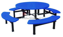 8-Seater Modern Wooden Dining tables With Metal Frame in School Dining Hall
