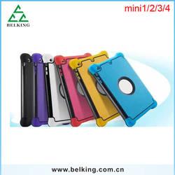 For iPad Mini 3In1 Hybrid Case, PC+Silicon+Leather Tri-folder Case For iPad 1/2/3/4